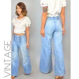 VTG 70s mile high rise wide leg flare jeans 6 27